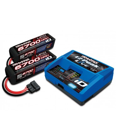 PACK CHARGEUR LIVE 2971G + 2 X LIPO 4S 6700MAH 2890X PRISE TRAXXAS